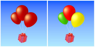 Balloons and present Stock Image