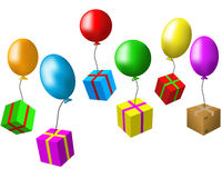Balloons and presents Royalty Free Stock Photos