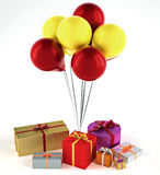 Balloons with presents Royalty Free Stock Image