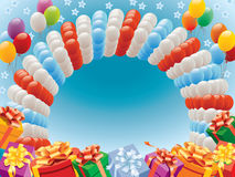 Balloons and presents stock illustration
