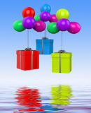 Balloons With Presents Displays Birthday Party Or Colourful Gift Stock Photos