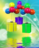 Balloons With Presents Displays Surprise Party And Birthday Pres Royalty Free Stock Images