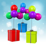 Balloons With Presents Mean Birthday Presents Or Stock Image
