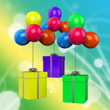Balloons With Presents Mean Surprise Party And Stock Images