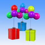 Balloons With Presents Show Birthday Party Or Royalty Free Stock Images