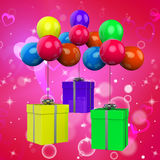 Balloons With Presents Show Birthday Party Royalty Free Stock Photo