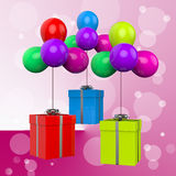Balloons With Presents Show Colourful Balloons Stock Photo