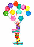 Balloons and presents watercolor royalty free illustration