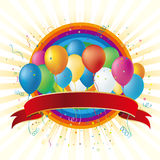 balloons and rainbow Royalty Free Stock Photography