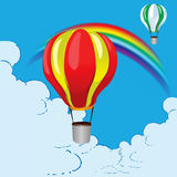 Balloons and rainbow Royalty Free Stock Photo