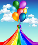 Balloons with rainbow. Beautiful card with balloons and a circus tent on a background of blue sky Stock Photography