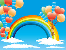 Balloons and a rainbow. Royalty Free Stock Image