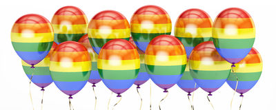 Balloons with rainbow gay pride flag, 3D rendering Stock Photography