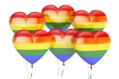 Balloons with rainbow gay pride flag in the shape of heart, 3D r Royalty Free Stock Photos