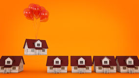 Balloons Raising Up an House . Stock Photography