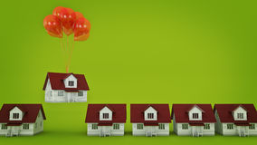 Balloons Raising Up an House . Stock Images