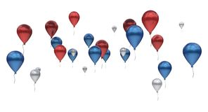 Balloons red blue silver metallic Royalty Free Stock Photo