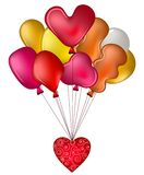Balloons with a red heart Royalty Free Stock Images