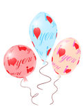 Balloons with red ornament of heart symbols Stock Images