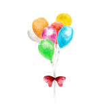 Balloons with red ribbon by watercolor hand painting  on white background. Stock Photography