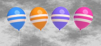 Balloons a rendição 3d ilustração royalty free