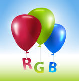 Balloons RGB concept. Vector colorful balloons with letters Stock Photography