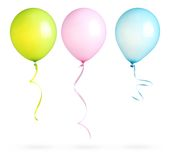 Balloons with ribbon isolated Stock Photo
