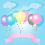 Balloons With Ribbons In Pastel Colors. Vector Illustration Royalty Free Stock Photo