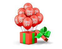 Balloons With Sale. Discounts and with box. Holidays SALE concept background 3d rendering Royalty Free Stock Photo