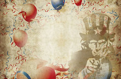 Balloons sam. Uncle sam surrounded by balloons and streamers Stock Photography