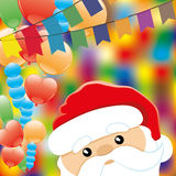 Balloons and Santa Claus. Stock Images
