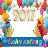Balloons Schulanfang Candy Cones Pencils Letters 2017 Royalty Free Stock Images
