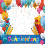 Balloons Schulanfang Candy Cones Pencils Letters Stock Image