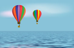 Balloons on the sea Stock Image