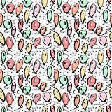 Balloons seamless pattern, hand drawn baloons isolated, sketchy colorful texture Royalty Free Stock Images