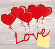 Balloons in the shape of heart bandaged with ribbon and bow hold. The word love. Empty Yellow sheet of paper for notes. Sticker. For the holiday and valentine`s Stock Images