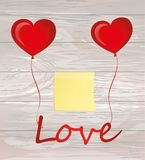 Balloons in the shape of heart bandaged with ribbon and bow hold. The word love. Empty Yellow sheet of paper for notes. Sticker. For the holiday and valentine`s Royalty Free Stock Image