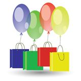 Balloons and shoping boxes on white background Stock Image