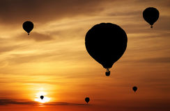Balloons silhouettes Stock Images