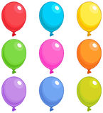 Balloons Singles. Illustration of Balloons in different colors Stock Photo
