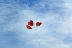 Balloons in sky. Heart like balloons in sky Stock Photography