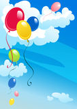 Balloons in the sky. Colorful balloons in the cloudy sky Royalty Free Stock Photography