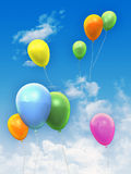Balloons in the sky. Colorful balloons flying into the sky. Digital illustration Royalty Free Stock Photo