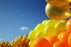 Balloons in sky. Inflatable balloons, blue sky background Royalty Free Stock Images
