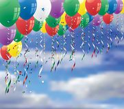 Balloons on sky. Party background with confetti and balloons on sky Stock Image