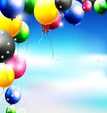 Balloons in the sky for birthday background Royalty Free Stock Photos