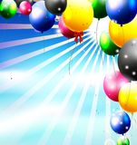 Balloons in the sky for birthday background Stock Photography