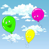 Balloons in the sky. Balloons in the blue sky. Vector illustration Royalty Free Stock Images