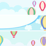Balloons sky cloud banners background Stock Photography
