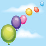 Vector balloons in the sky. Vector colorful balloons in the sky Royalty Free Stock Photos